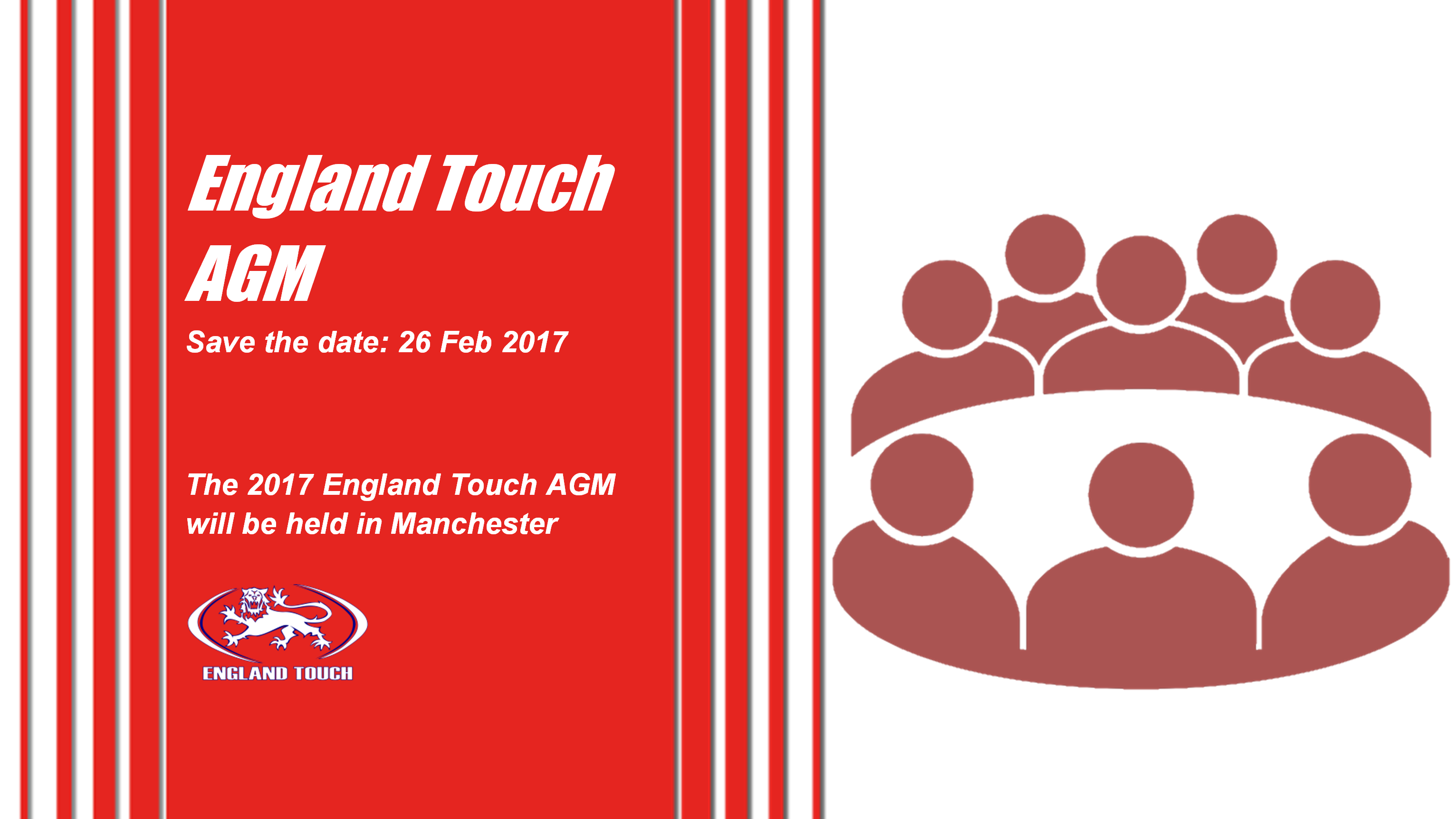 England Touch AGM - Save the date: 26 Feb 2017